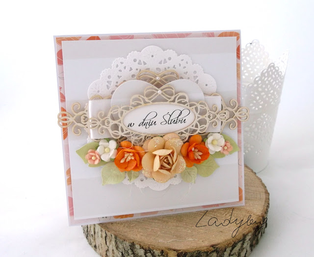 Ślubna kartka w pomarańczach