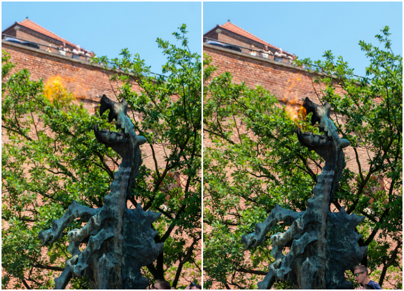 Wawel dragon breathing fire out in Kraków, Poland