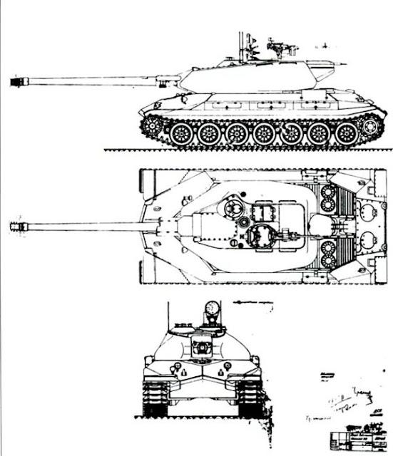 Утвержденный внешний вид первого образца танка Объект 260. 1946 г.