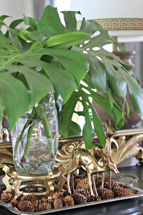 silver tray, brass deer, monstera leaves, greek key trim, fall decor