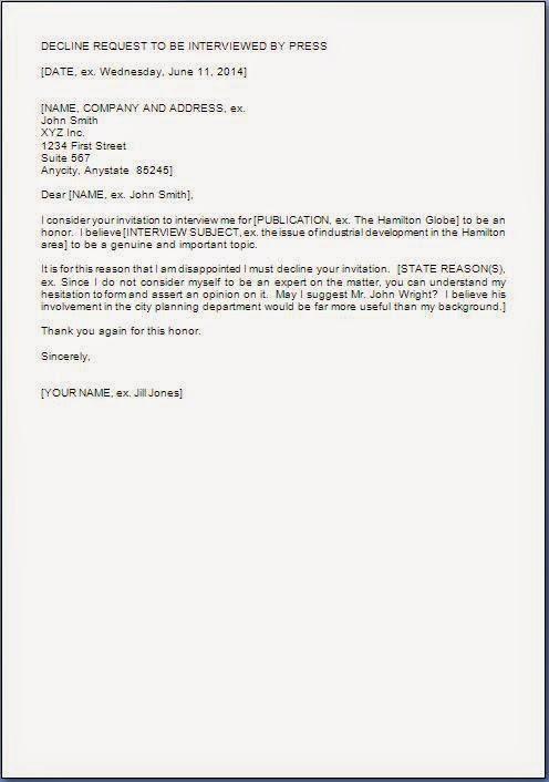Request Decline Letter Format For Interview