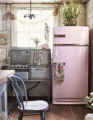 lovely retro kitchen with pale pink fridge