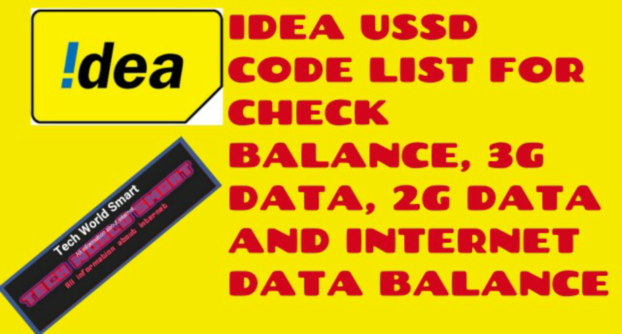 idea ussd code lists for check balance , 3g data, 2g data and
