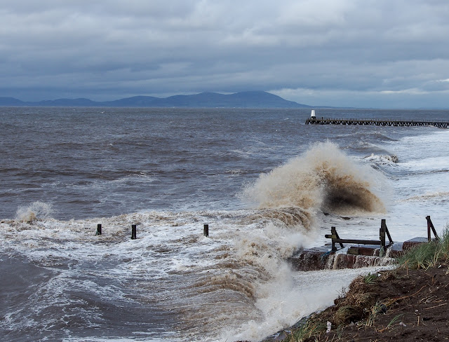 Photo of Maryport beach during Storm Brian