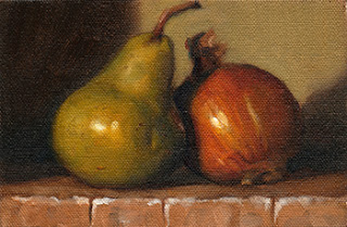 Oil painting of a green pear beside a brown onion.