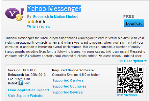 yahoo mail for blackberry curve 9320