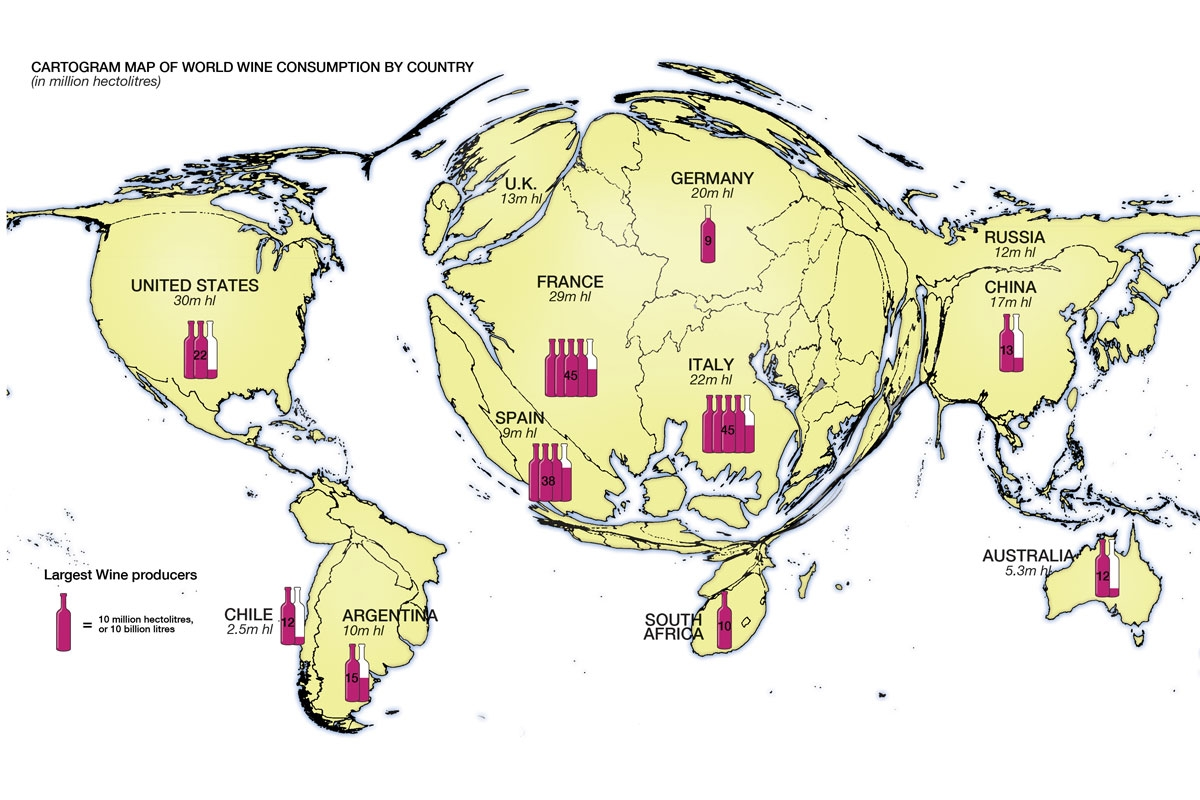 Cartogram map of World wine consumption by country