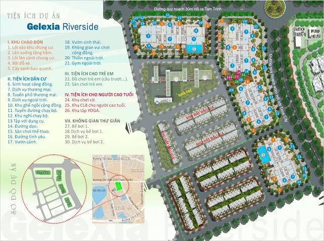 Mặt bằng phân khu tiện ích dự án Gelexia Riverside