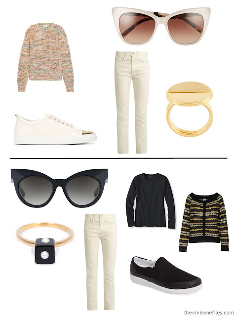 two ways to wear ivory jeans