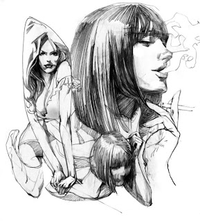 Retrato a lápiz de mujeres