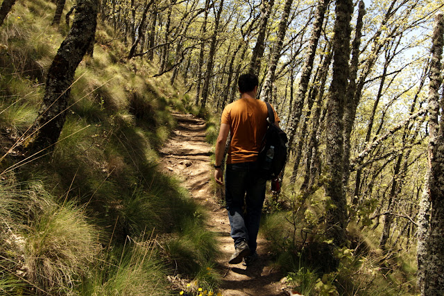 Alberto caminando por un sendero en el valle del Ambroz