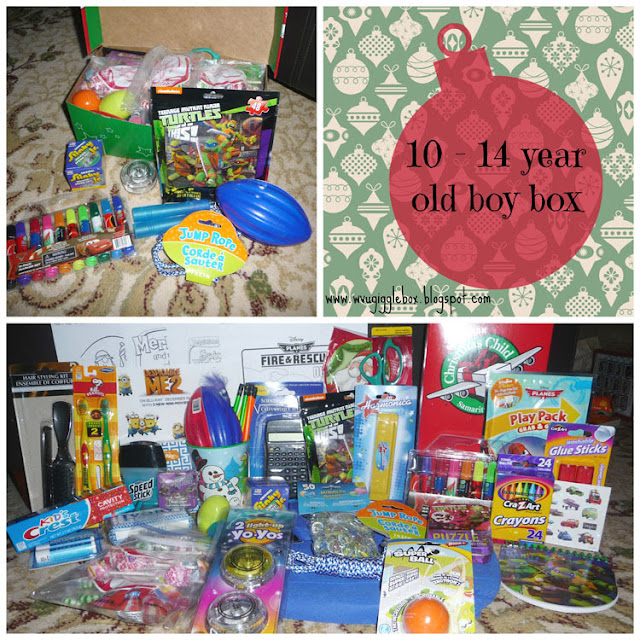 packing an Operations Christmas Child box for a 10 - 14 year old boy, OCC boy box ideas, Operation Christmas Child,