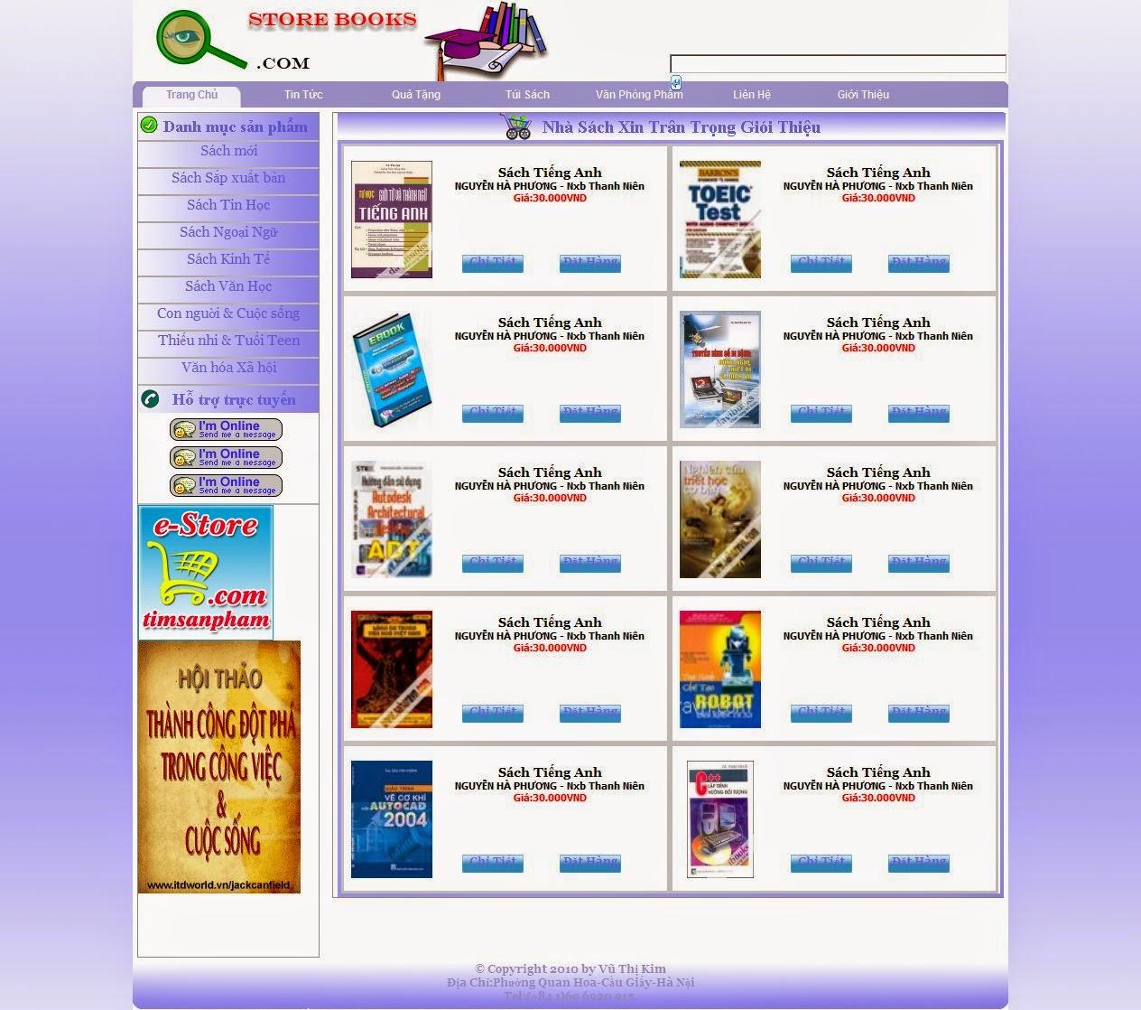 thiết kế web nhà sách đẹp