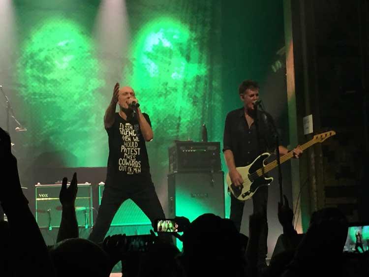 Peter Garrett and Bones Hillman of Midnight Oil perform in New York City at Webster Hall.