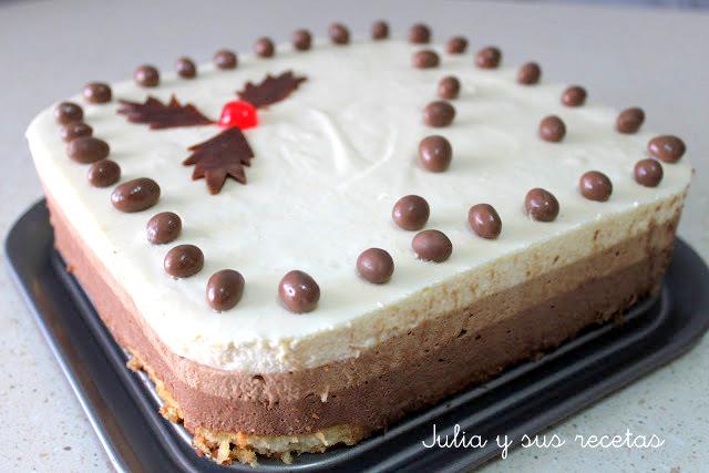 Tarta mousse de 3 chocolates. Julia y sus recetas