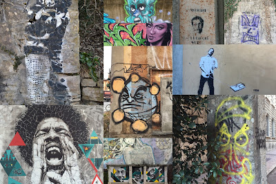 A collage of of different faces seen on walls around Bergamo in February 2016