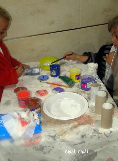 pintado rollos de papel higienico para el calendario