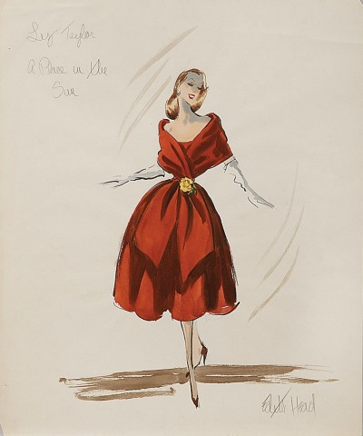 "Edith Head Sketch showing woman in red dress for movie ""A Place in the Sun"""