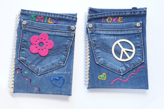 DIY σημειωματάρια με τζιν παντελόνι