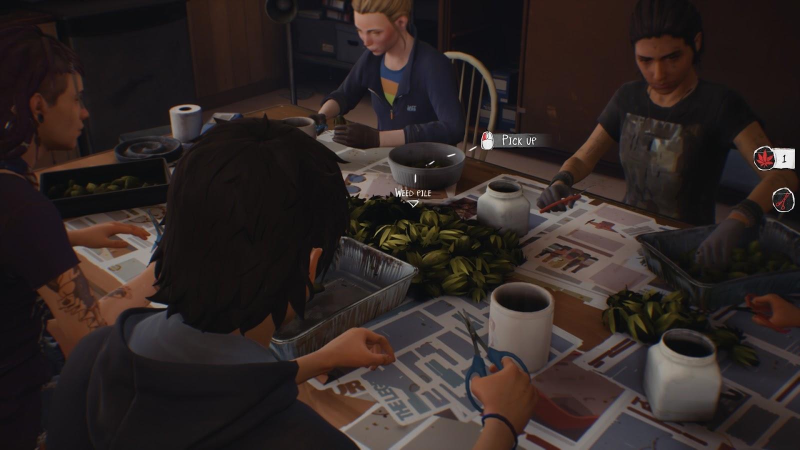 Sean, Cassidy és még két csaj marihuána rügyeket tisztítanak. Vagy valami ilyesmi - nem vagyok otthon a pontos terminológiában.
