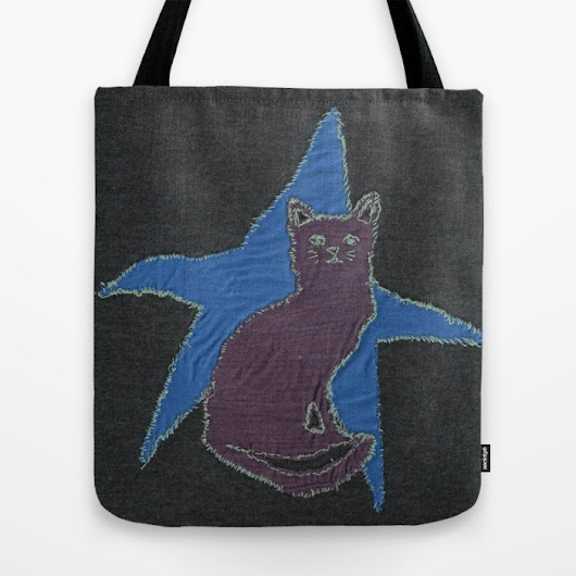 tales from the little pink house: Star Cat tote bag on society6