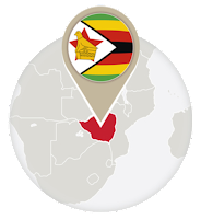 Zimbabwean flag and map