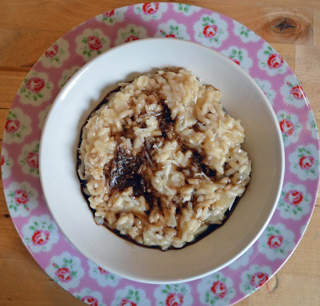 Pecorino and Balsamic Risotto served in a Laura Ashley plate and bowl