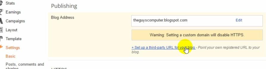 Custom domain setting for blogger