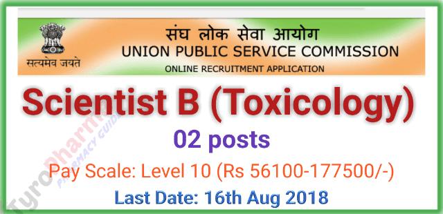 Scientist B (Toxicology) 2 Posts - UPSC