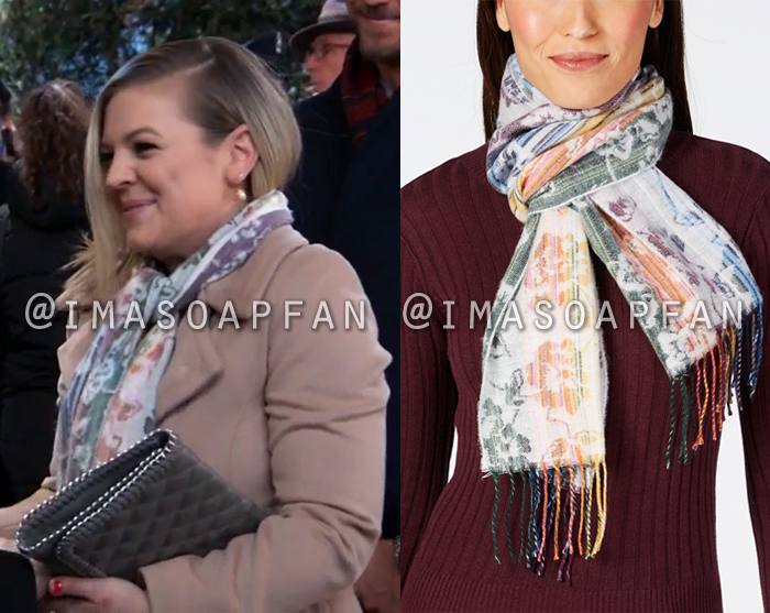 Maxie Jones, Kirsten Storms, Muted Rainbow Floral Scarf, General Hospital, GH
