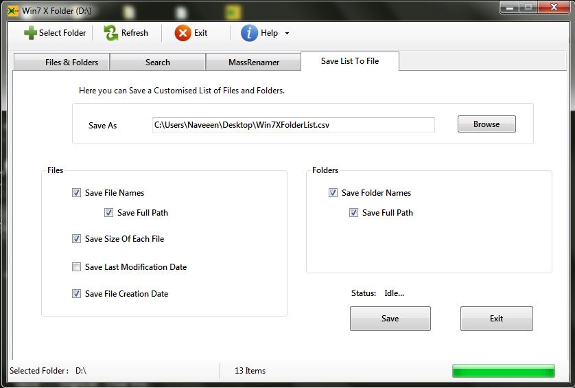Win7 X Folder Save list to file