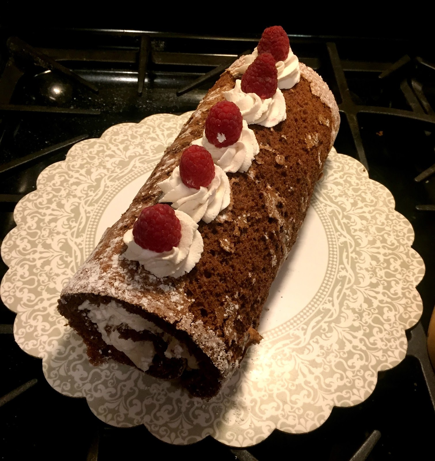 Chocolate raspberry swiss roll