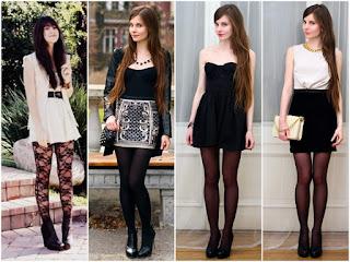 modelo de mini saia com meia fina preta