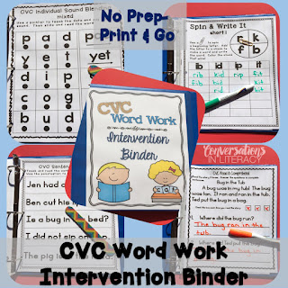 CVC word work intervention binder for RTI