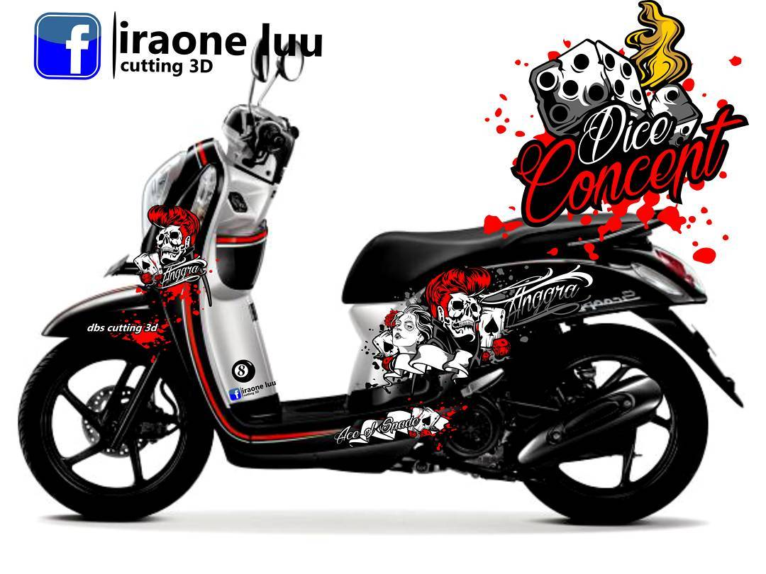 Cutting Sticker Honda Scoopy 1  DBS Cutting Sticker 3D
