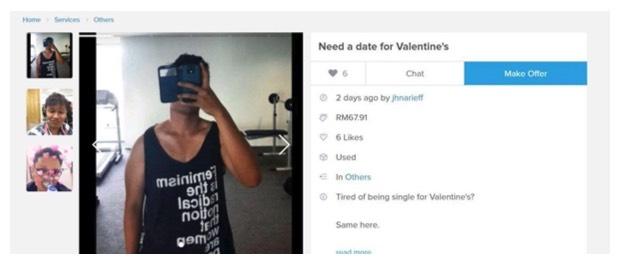 Hanya Serendah RM67.91 Lelaki Ini 'Lelong' Dirinya di Carousell Sempena Hari Kekasih