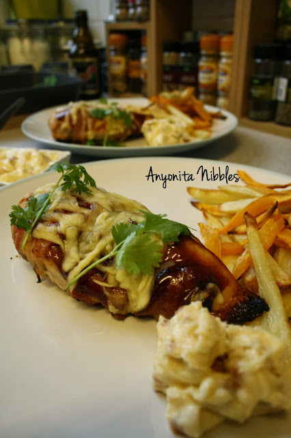 Two plates of coriader mesquite barbecue chicken with roasted fries & bacon aioli from www.anyonita-nibbles.com