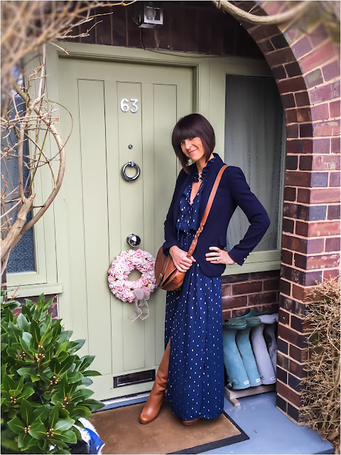 My Midlife Fashion, Wallis Tan leather high Leg boots, h and m maxi ruffle dress, clarks saddle bag, zara navy blazer