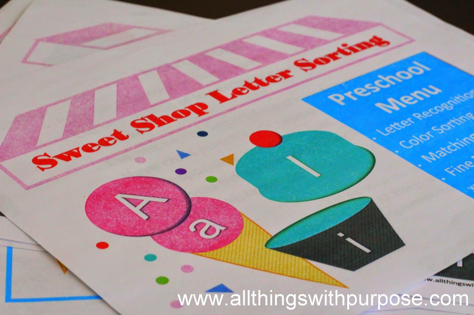 Preschool Letter Sorting Printable