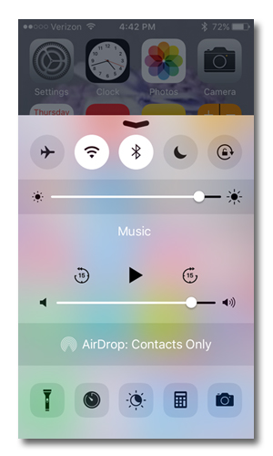 Shortcuts screen on iPhone