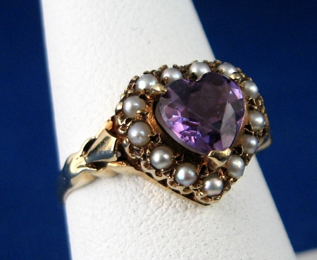 Amethyst Oval Shaped Ring Double Bad