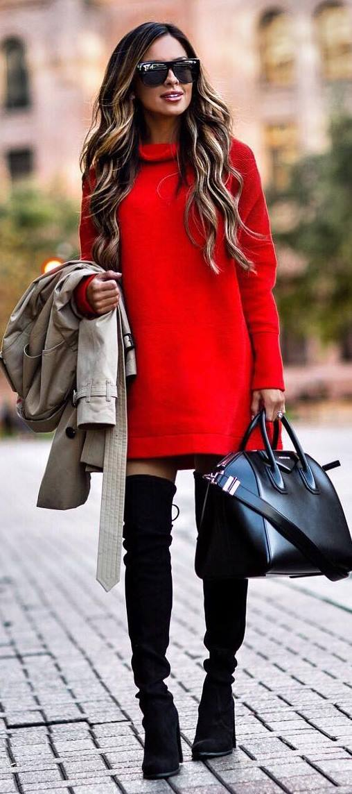 amazing outfit / red dress + bag + over knee boots + nude coat