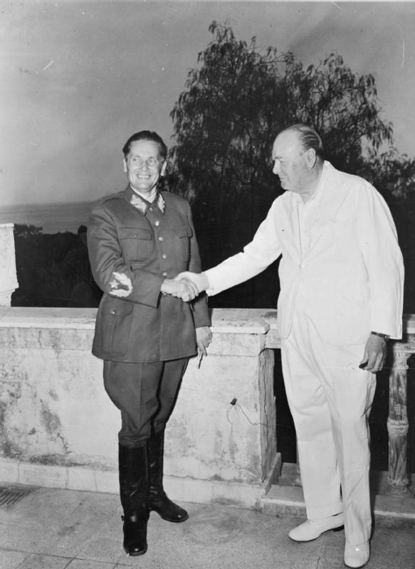 Marshal Tito and Winston Churchill in 1944 in Naples, Italy