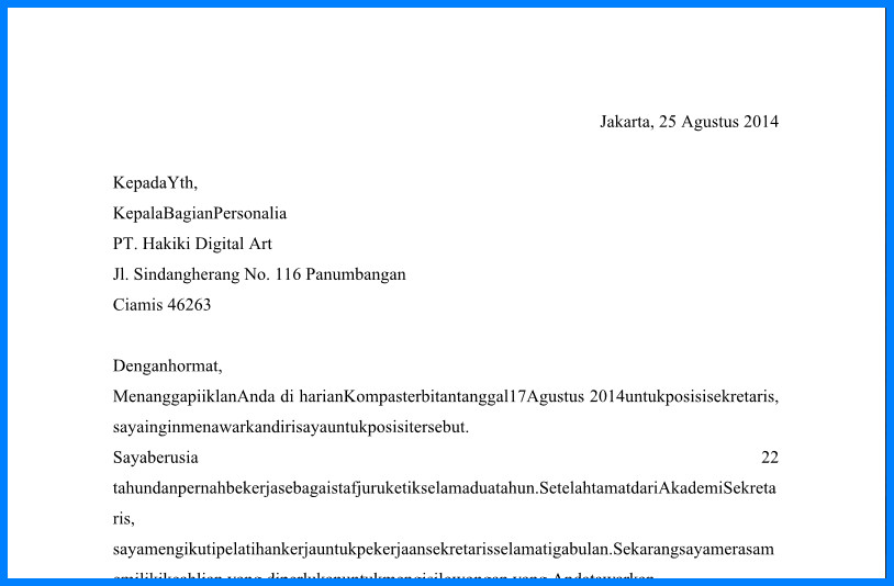 Contoh Surat Lamaran Kerja Bagian Sekretaris Dan Administratif