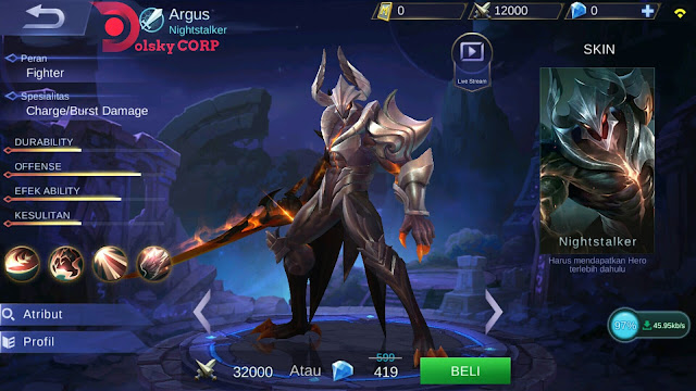Mobile Legends : Hero Argus ( Nighstalker ) Dash Attack Builds Set up Gear