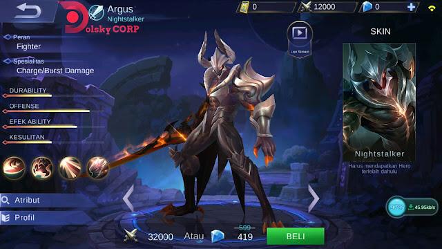 Mobile Legends : Hero Argus ( Nighstalker ) Dash Attack Builds Set up Gear