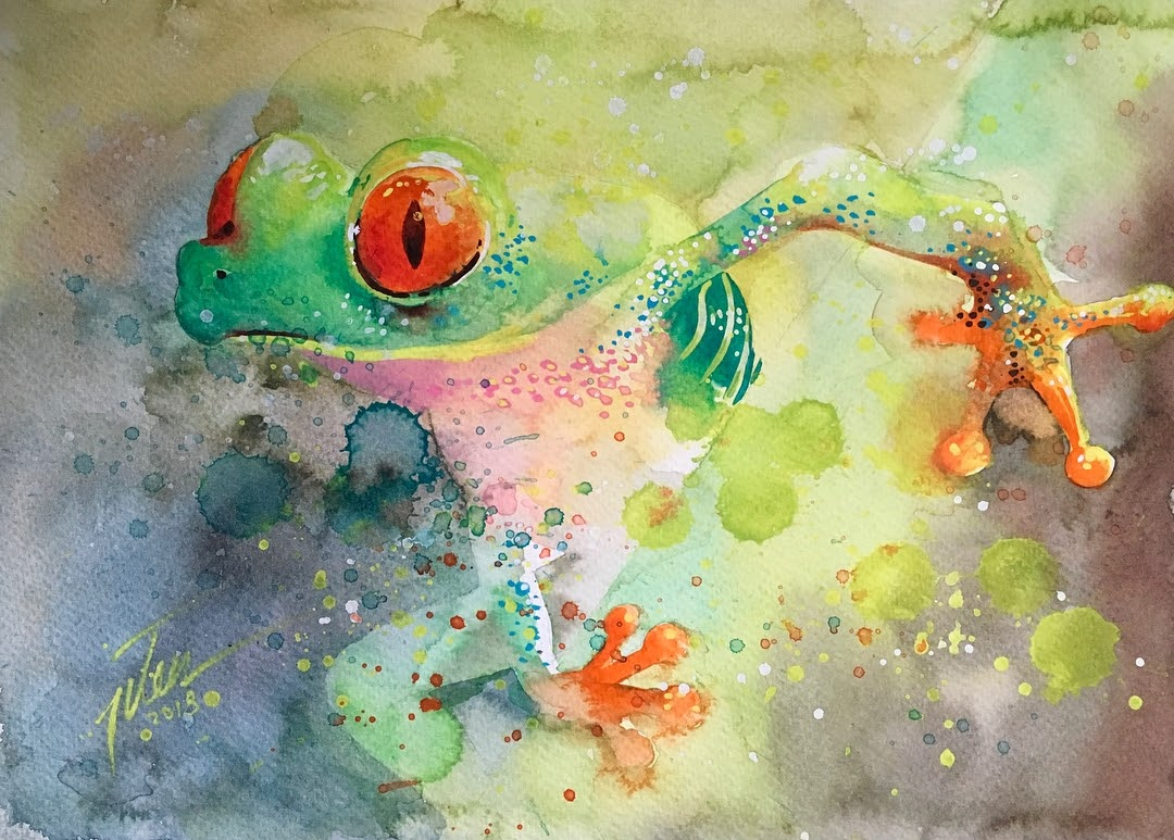 04-Red-Eyed-Tree-Frog-Tilen-Ti-Paintings-of-Animals-with-Splashes-of-Paint-www-designstack-co