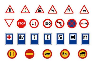 Några spanska trafikmärken. Märk skillnaden mellan permanenta (vit bakgrund) och tillfälliga (gul bakgrund) förbudsmärken.