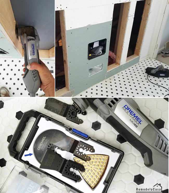 Dremel Multi-Max MM45 oscillating tool used to cut drywall for bath shelves