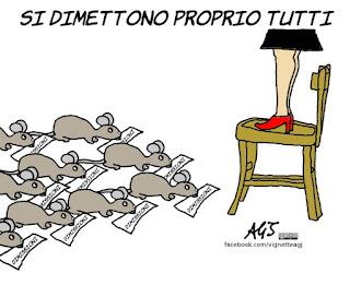Roma, Raggi, dimissioni, topi, vignetta, satira